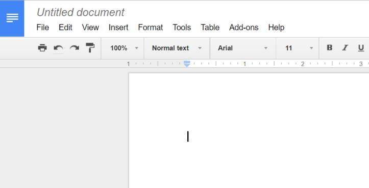 Image of new Google Doc