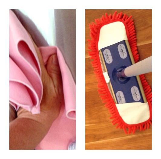 photo of microfiber cloth and dry mop