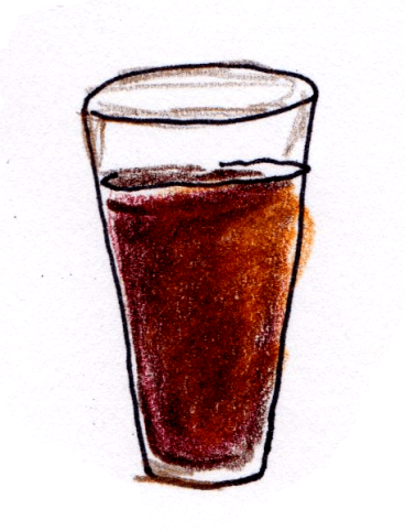 drawing of stout beer in a pint glass