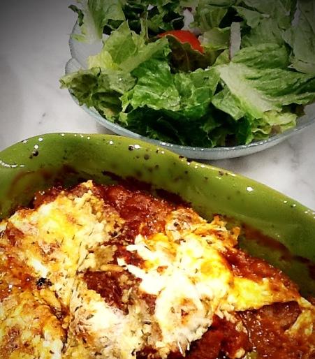 Photo of eggplant and side salad