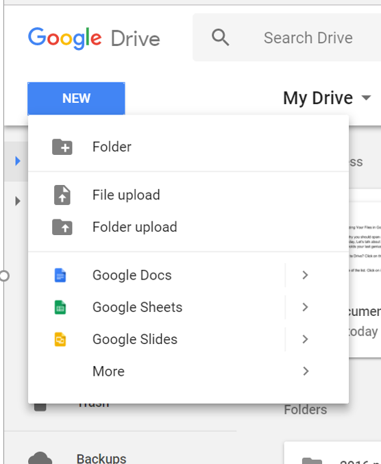 Google Drive options menu