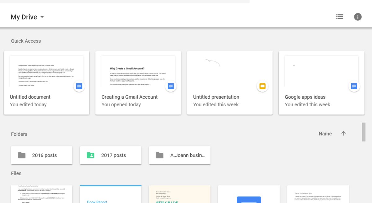 Google Drive gallery display