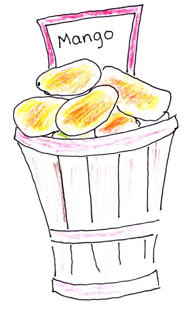 Drawing of basket of mangoes