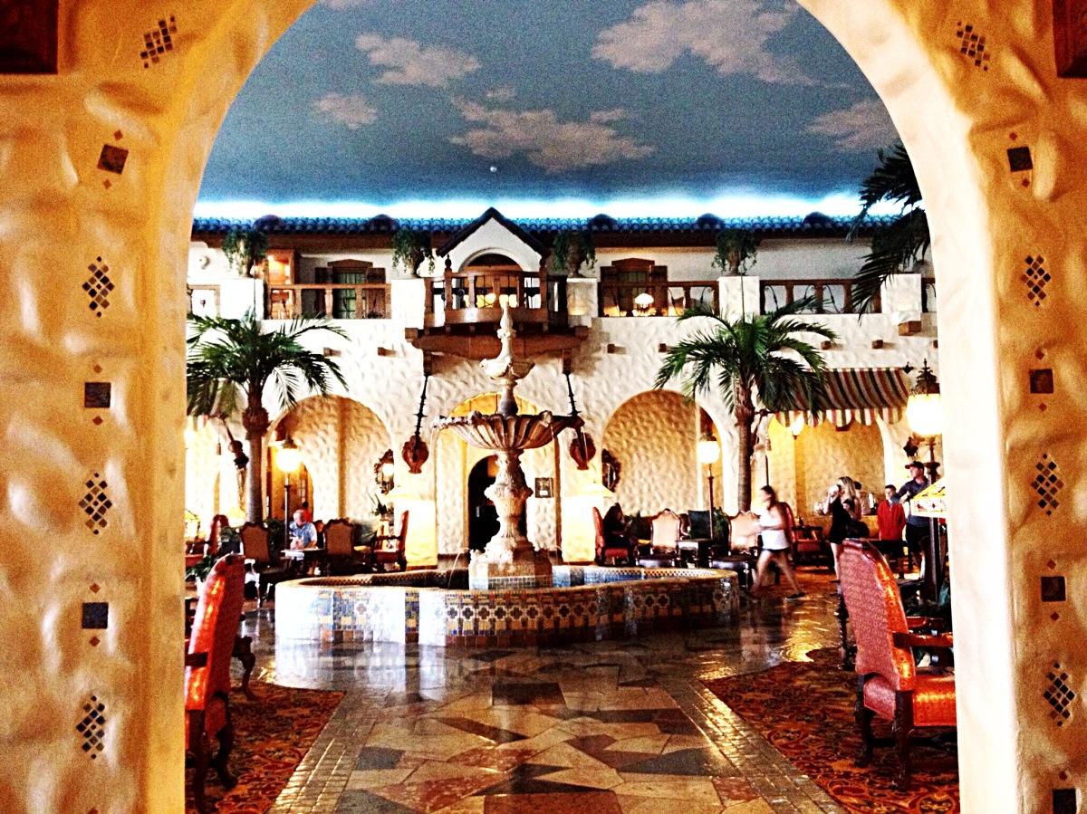 Second floor lobby including fountain